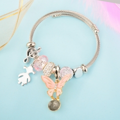 Stainless Steel Bracelet With Alloy Charms BS-1854