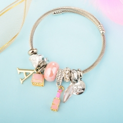 Stainless Steel Bracelet With Alloy Charms BS-1853