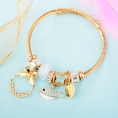 Stainless Steel Bracelet With Alloy Charms BS-1845B