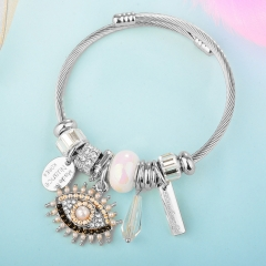 Stainless Steel Bracelet With Alloy Charms BS-1842A