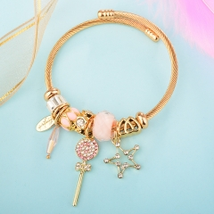 Stainless Steel Bracelet With Alloy Charms BS-1839B