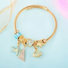 Stainless Steel Bracelet With Alloy Charms BS-1846B