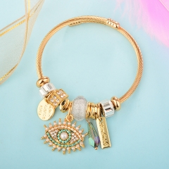 Stainless Steel Bracelet With Alloy Charms BS-1840B