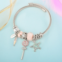 Stainless Steel Bracelet With Alloy Charms BS-1839A