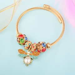 Stainless Steel Bracelet With Alloy Charms BS-1847B