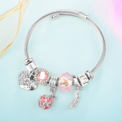 Stainless Steel Bracelet With Alloy Charms BS-1838A