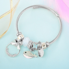Stainless Steel Bracelet With Alloy Charms BS-1845A