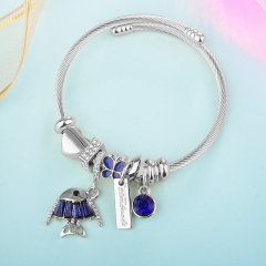 Stainless Steel Bracelet With Alloy Charms BS-1841A