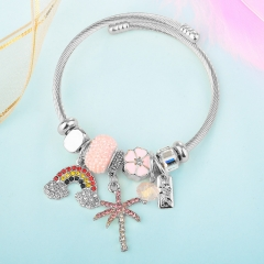 Stainless Steel Bracelet With Alloy Charms BS-1843A