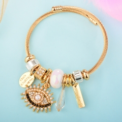 Stainless Steel Bracelet With Alloy Charms BS-1842B