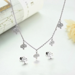 popular cubic zirconia brass charm stainless steel jewelry set  XXXS-0274A