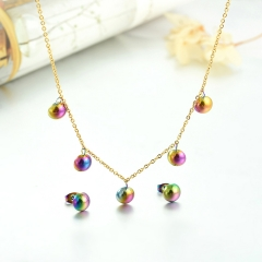 popular cubic zirconia brass charm stainless steel jewelry set  XXXS-0290