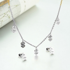 popular cubic zirconia brass charm stainless steel jewelry set  XXXS-0275A