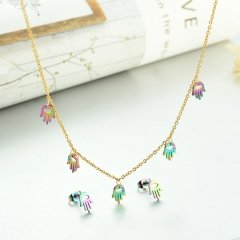 popular cubic zirconia brass charm stainless steel jewelry set  XXXS-0292
