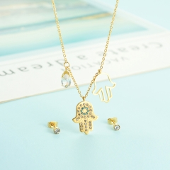popular cubic zirconia brass charm stainless steel jewelry set XXXS-0340