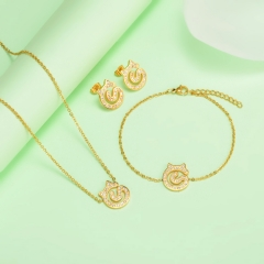 new stainless steel women gold jewelry set  XXXS-0431