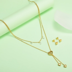 new stainless steel women gold jewelry set  XXXS-0439