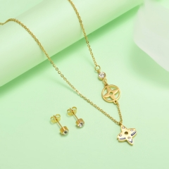 new stainless steel women gold jewelry set  XXXS-0429