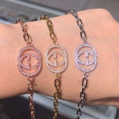 stainless steel chain with copper charm diamond bracelet TTTB-0153