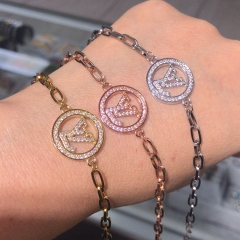stainless steel chain with copper charm diamond bracelet TTTB-0152
