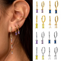 925 Sterling Silver Bling Colorful Zircon Women Hoop Earring With Copper Charms  EARR-0500